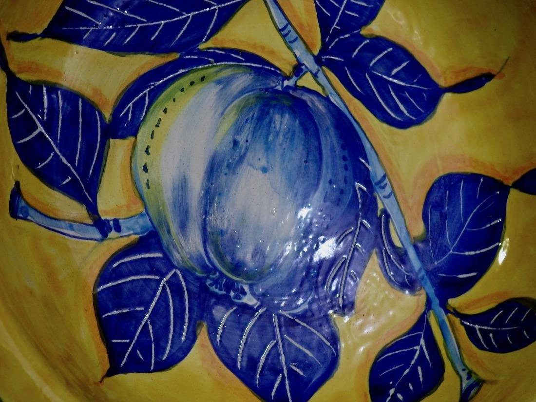Mediterranean Majolica Pottery Blue Apple Italian Hand - 2