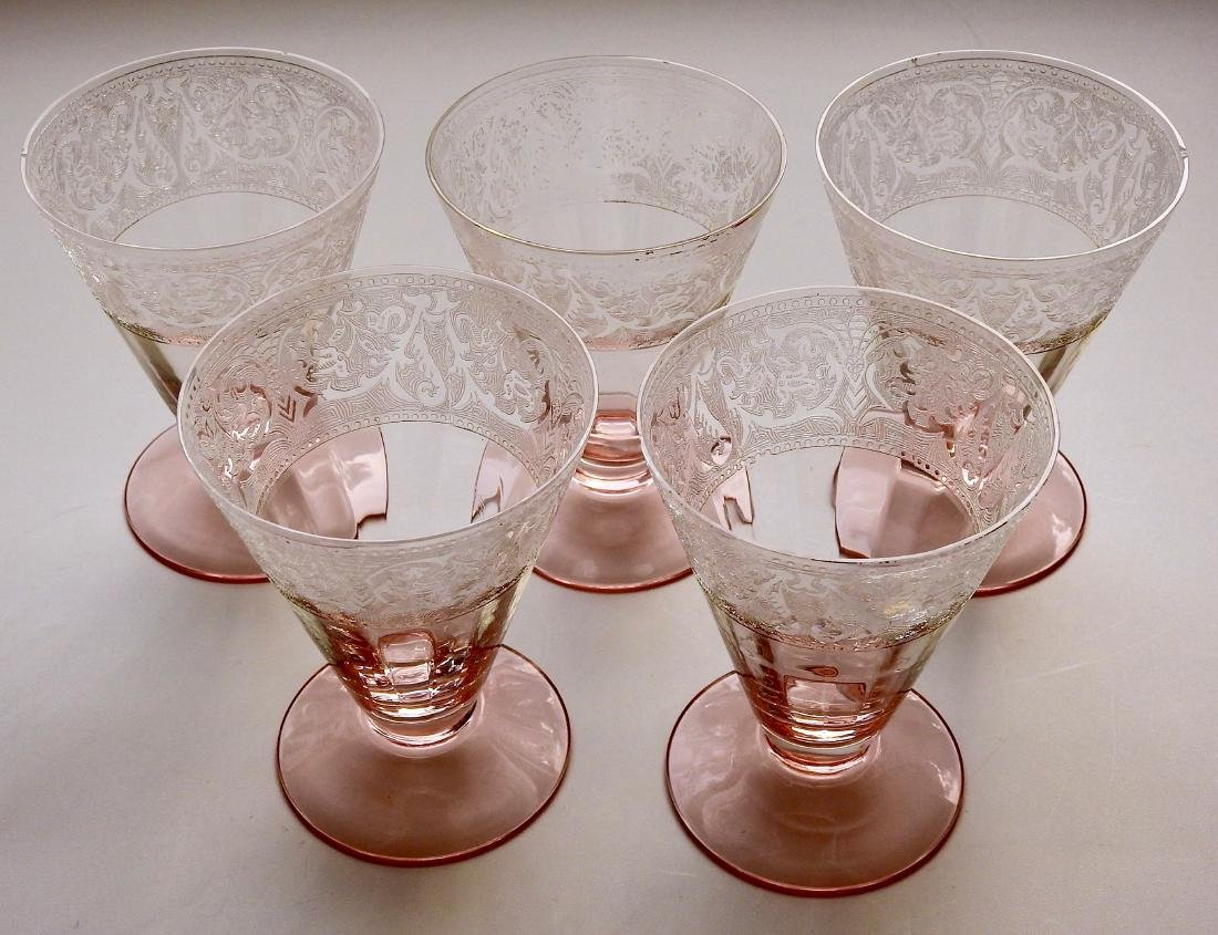 Vintage Needle Etched Elegant Glass Poinsettia Pink Art