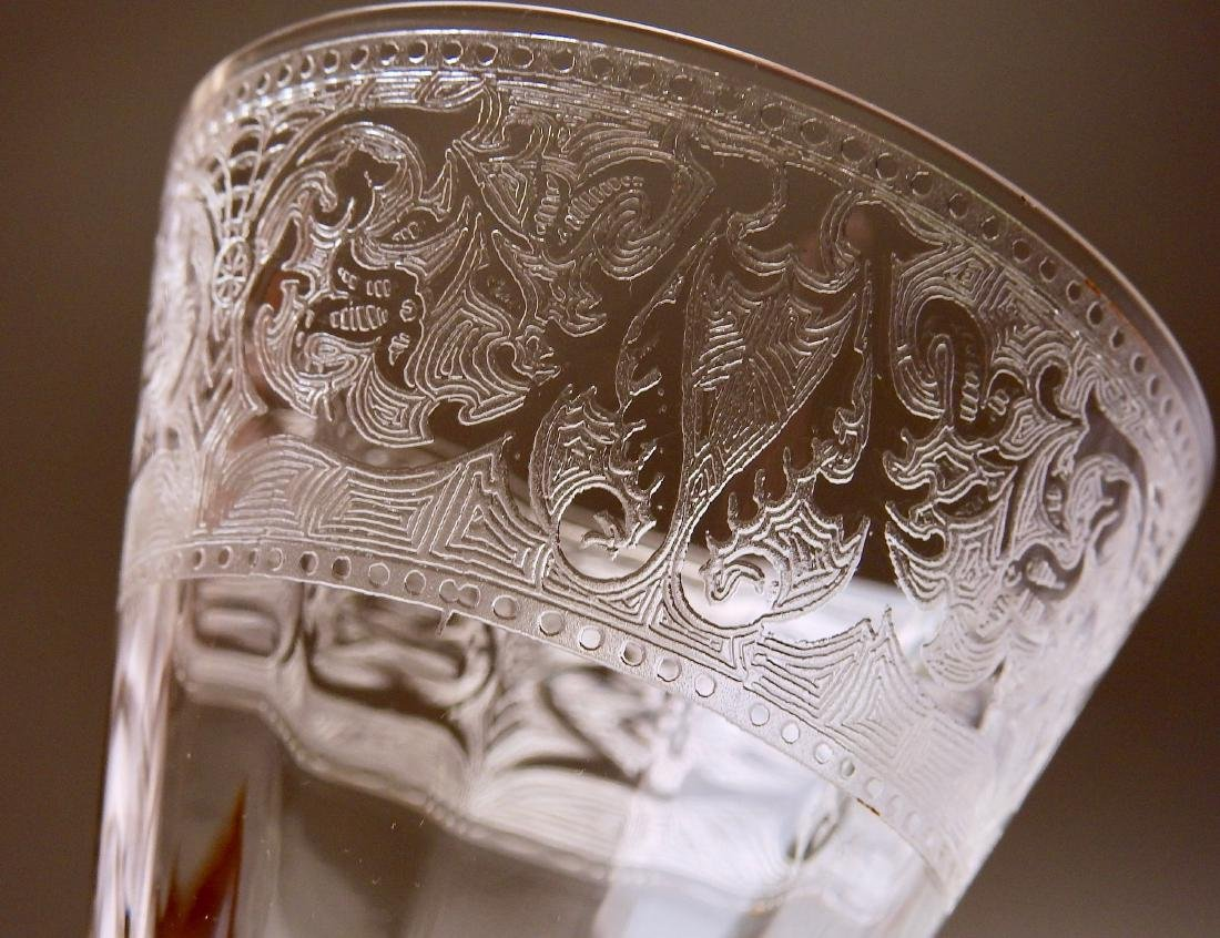 Vintage Needle Etched Elegant Glass Poinsettia Pink Art - 3