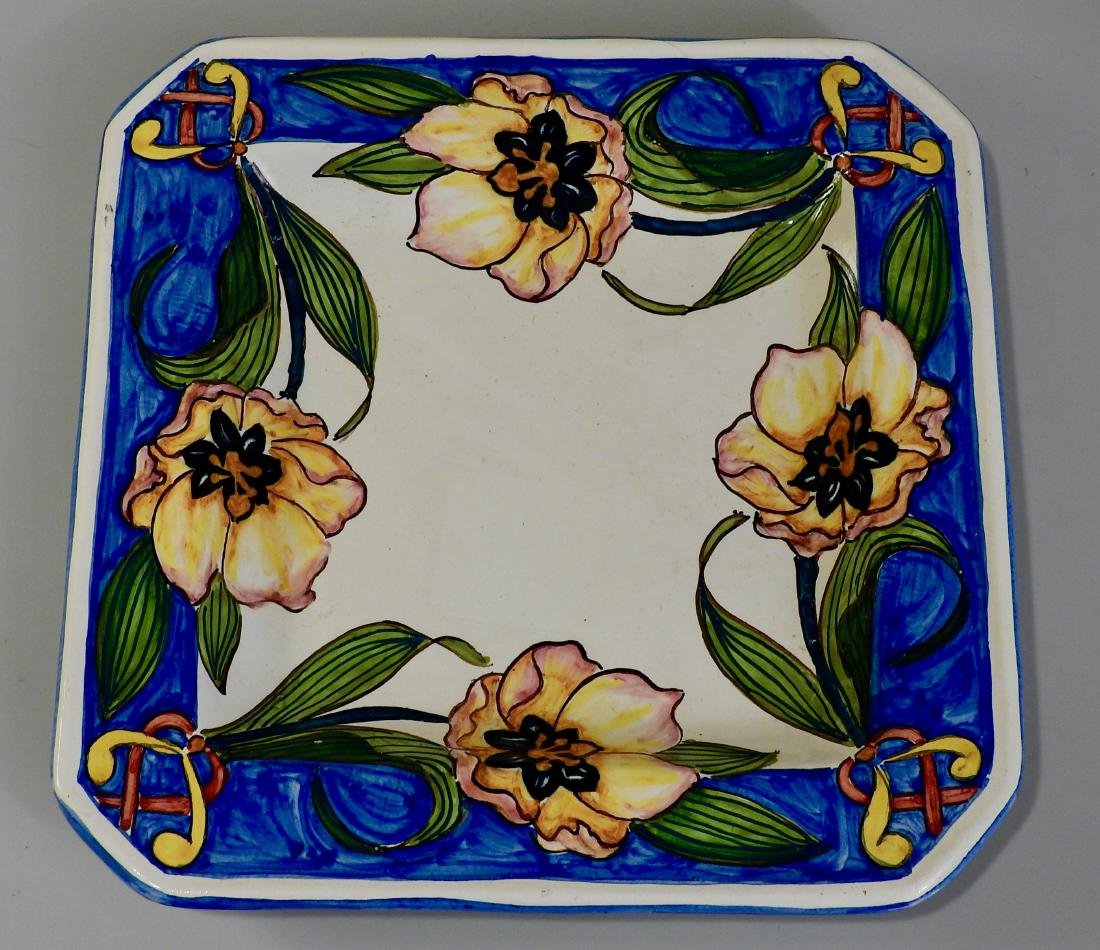 Italian Majolica Pottery Painted Exotic Flowers Square