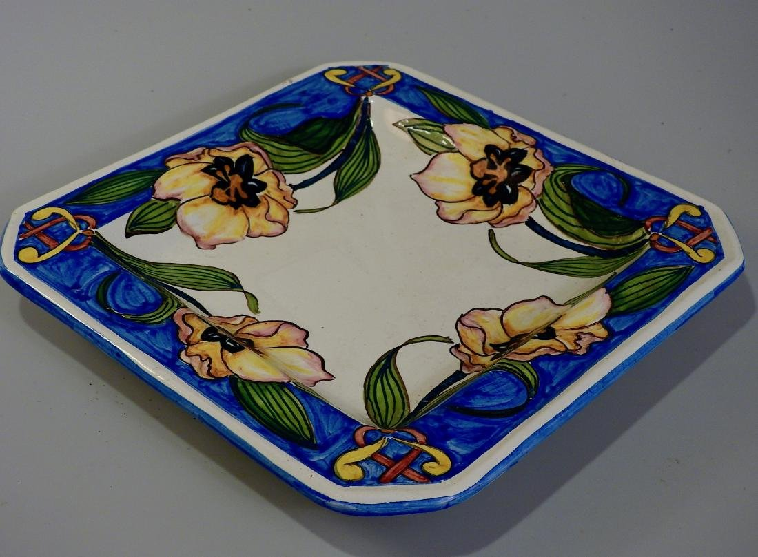 Italian Majolica Pottery Painted Exotic Flowers Square - 2