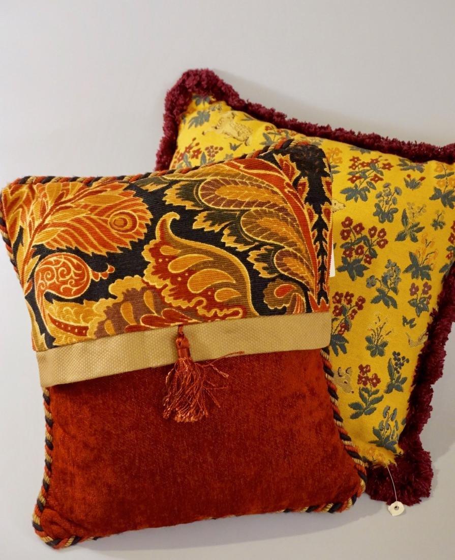 Lot of 2 Designer Pillows Envelope Tassel Monkey Tinsel