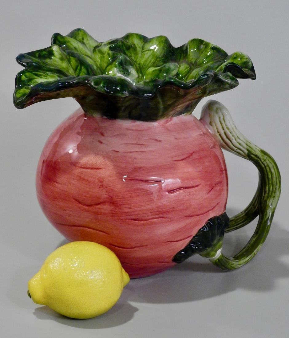 Large Turnip Figural Decorative Pitcher
