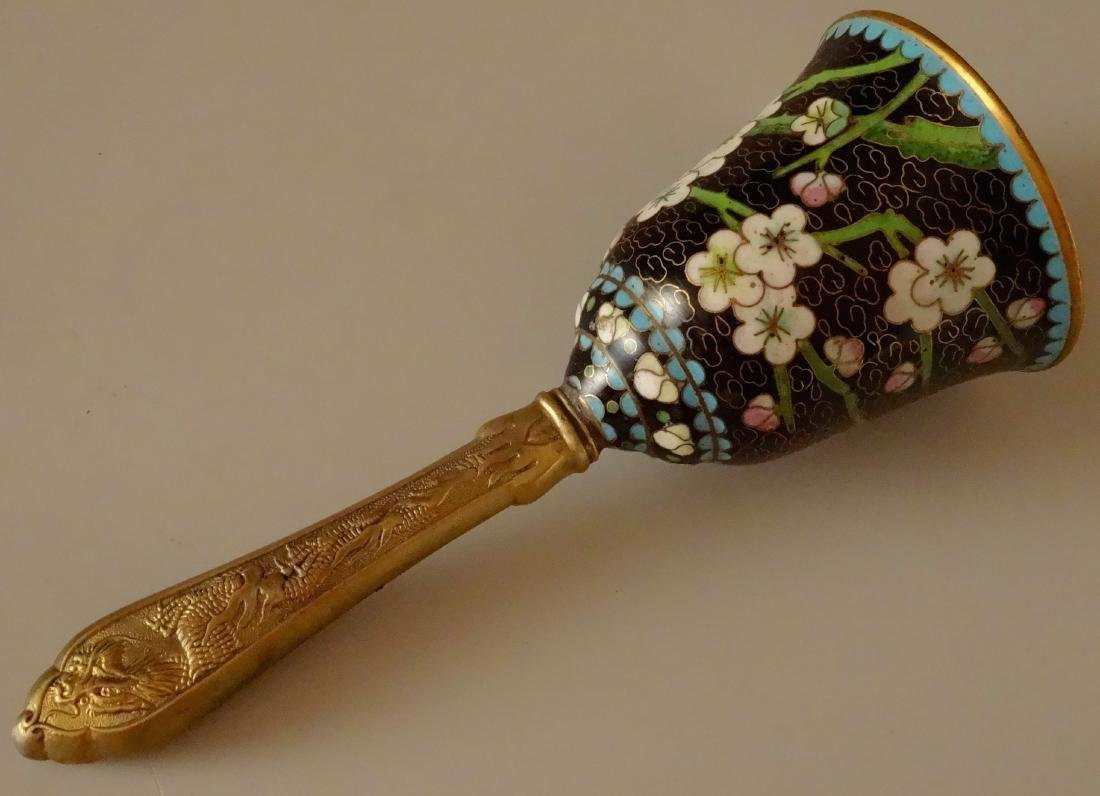 Chinese Cloisonne Dragon Handle Dinner Bell
