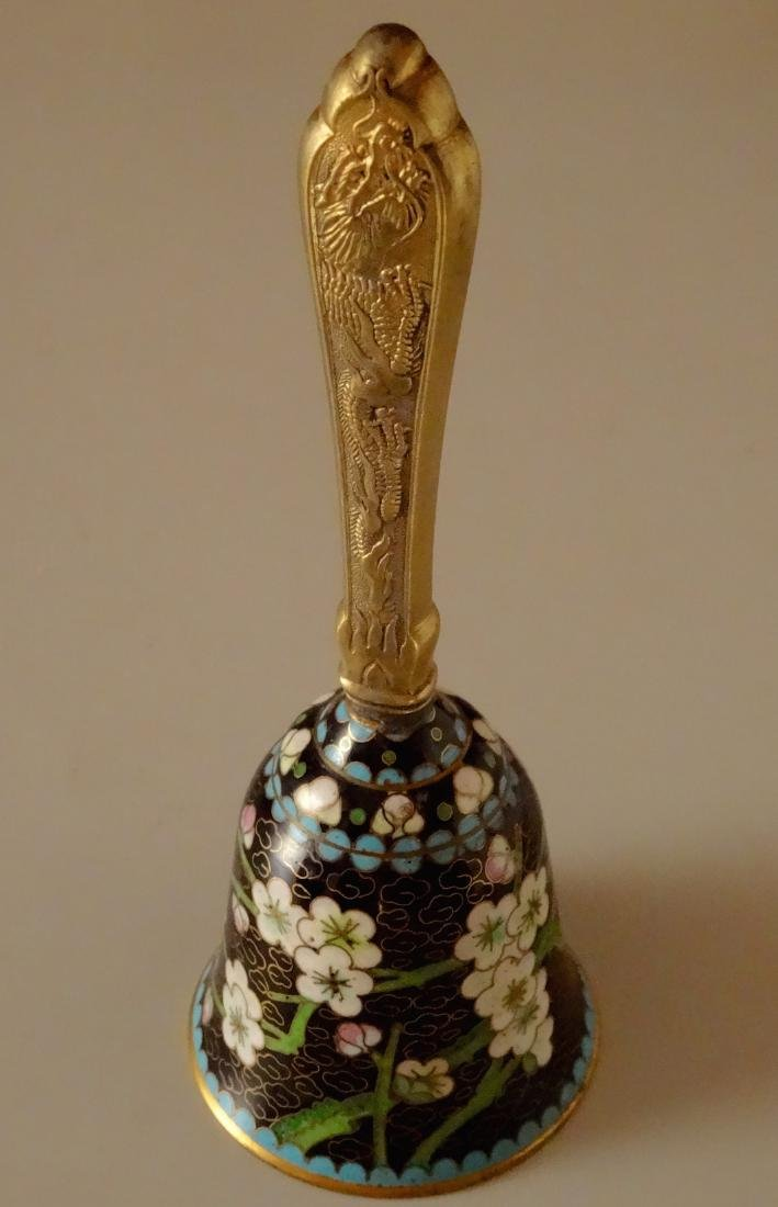 Chinese Cloisonne Dragon Handle Dinner Bell - 2