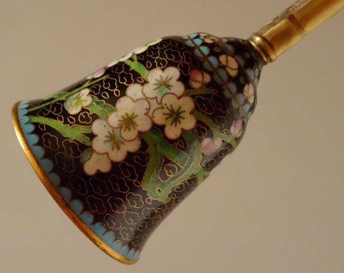 Chinese Cloisonne Dragon Handle Dinner Bell - 5