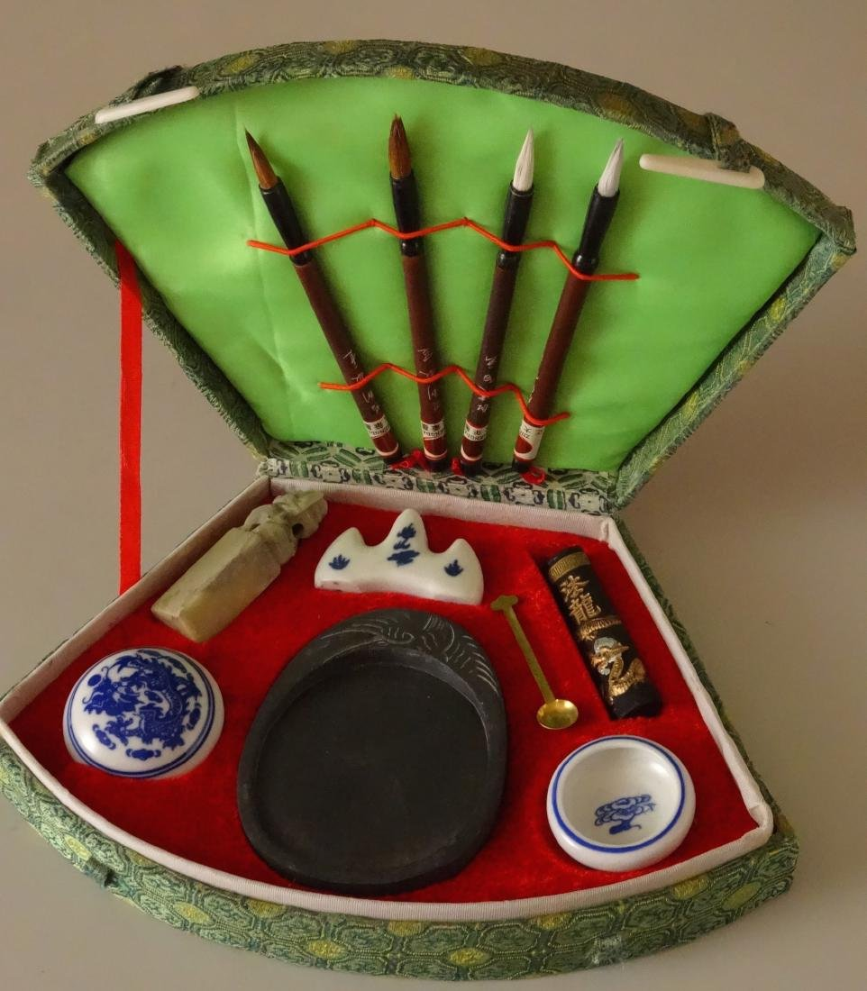 Chinese Brush Calligraphy Set Seal Ink Full Silk Box