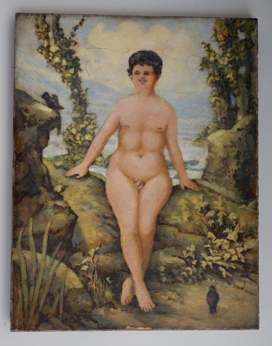 Victorian Freak Show Nude Hermaphrodite Oil On Canvas
