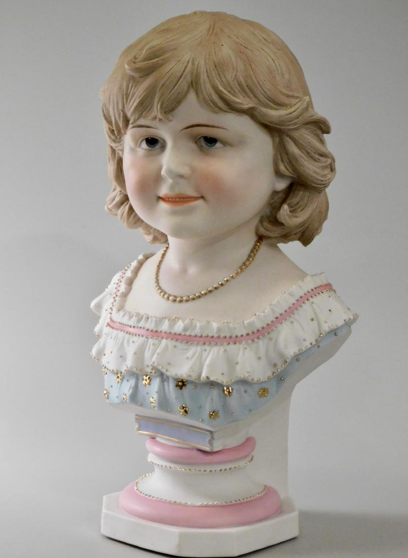 Large Continental Bisque Porcelain Bust of a Victorian