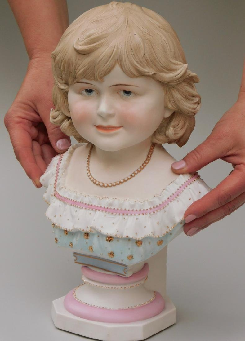 Large Continental Bisque Porcelain Bust of a Victorian - 2