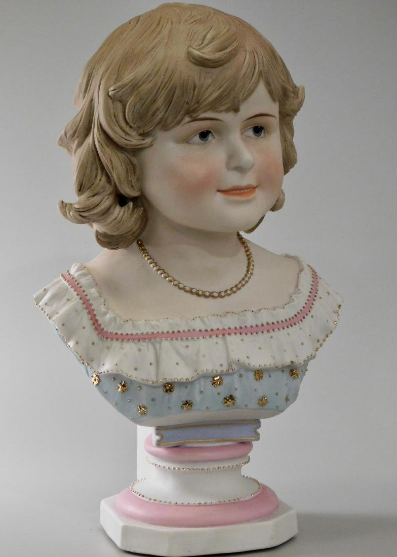 Large Continental Bisque Porcelain Bust of a Victorian - 3