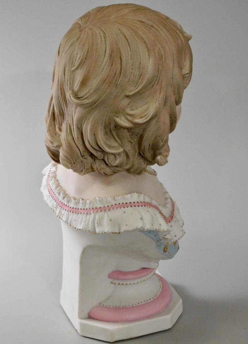 Large Continental Bisque Porcelain Bust of a Victorian - 4