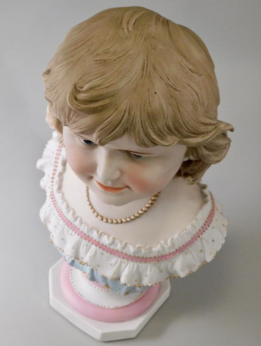 Large Continental Bisque Porcelain Bust of a Victorian - 5