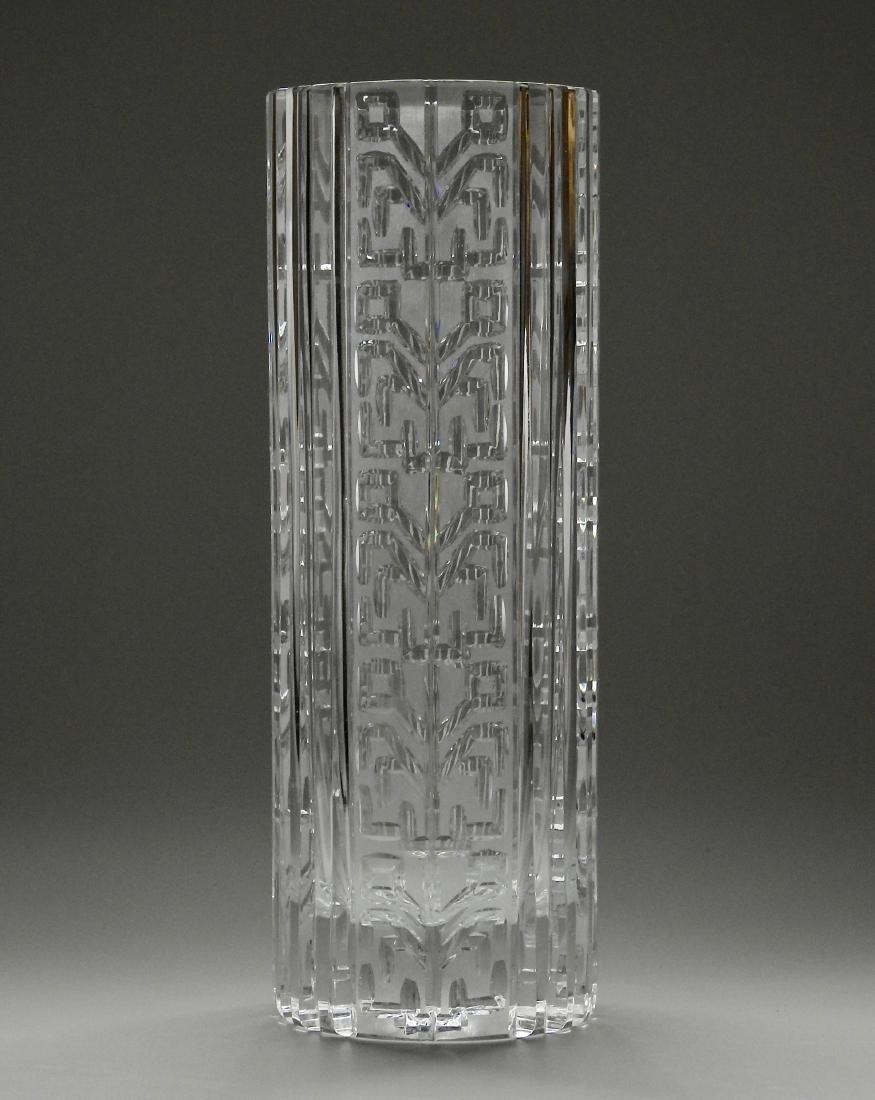 Vintage Art Deco Geometric Design Crystal Vase