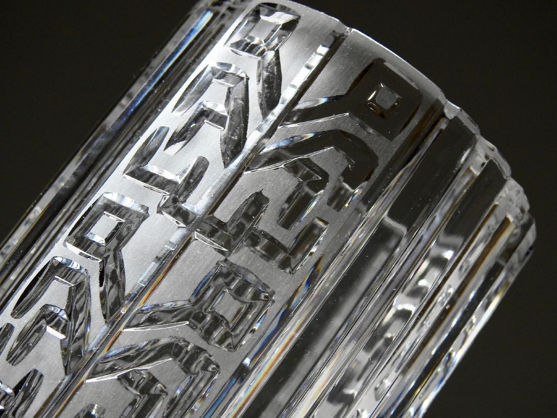 Vintage Art Deco Geometric Design Crystal Vase - 3