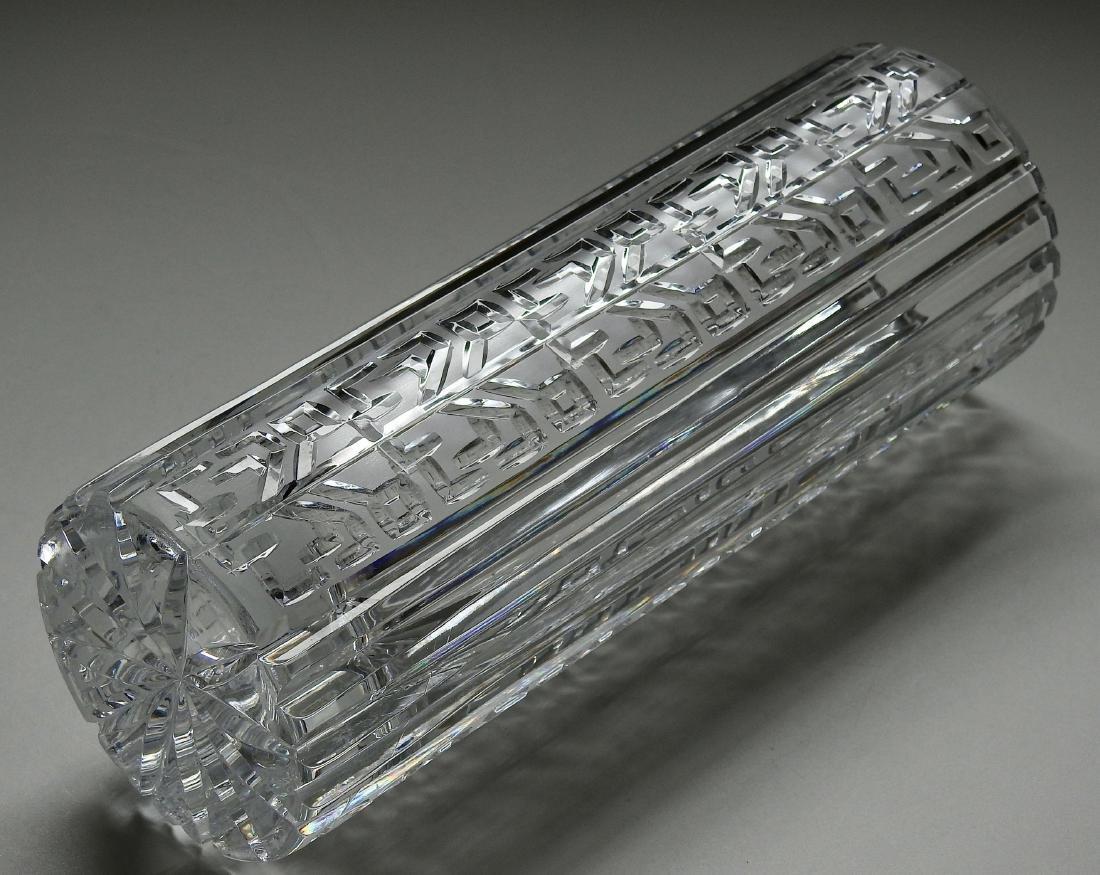 Vintage Art Deco Geometric Design Crystal Vase - 4