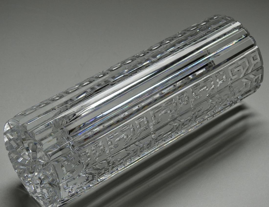 Vintage Art Deco Geometric Design Crystal Vase - 5