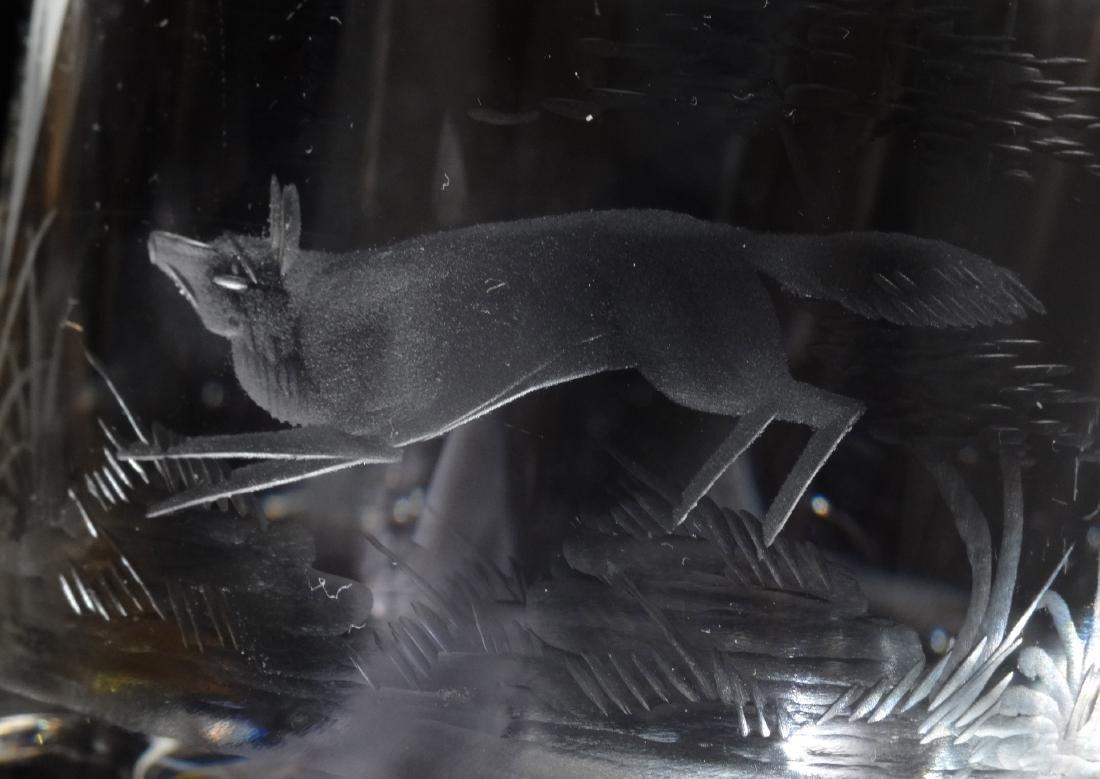 Fox Pheasant Hunting Engraved Cut Glass Whiskey Glasses