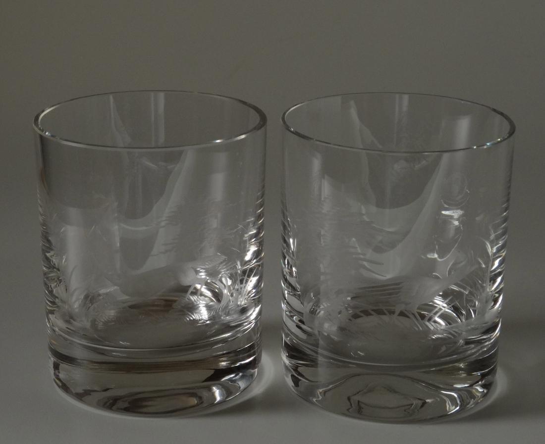 Fox Pheasant Hunting Engraved Cut Glass Whiskey Glasses - 2