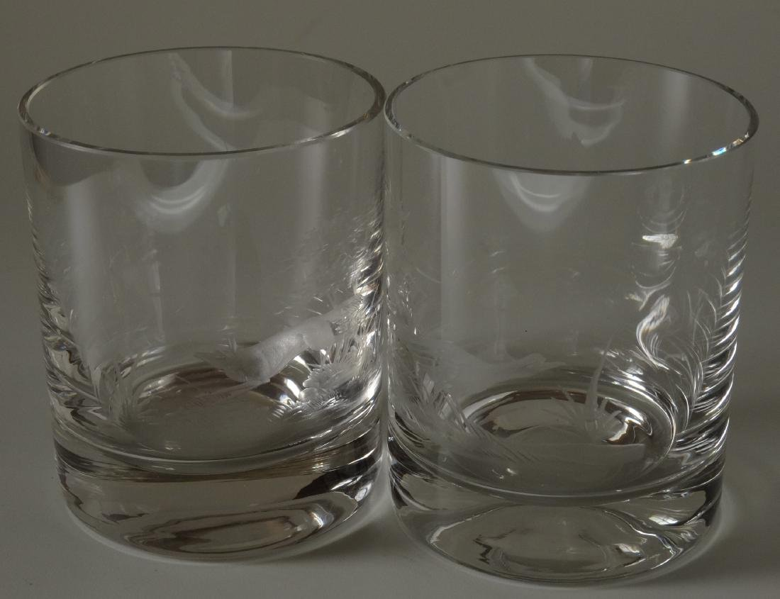 Fox Pheasant Hunting Engraved Cut Glass Whiskey Glasses - 5