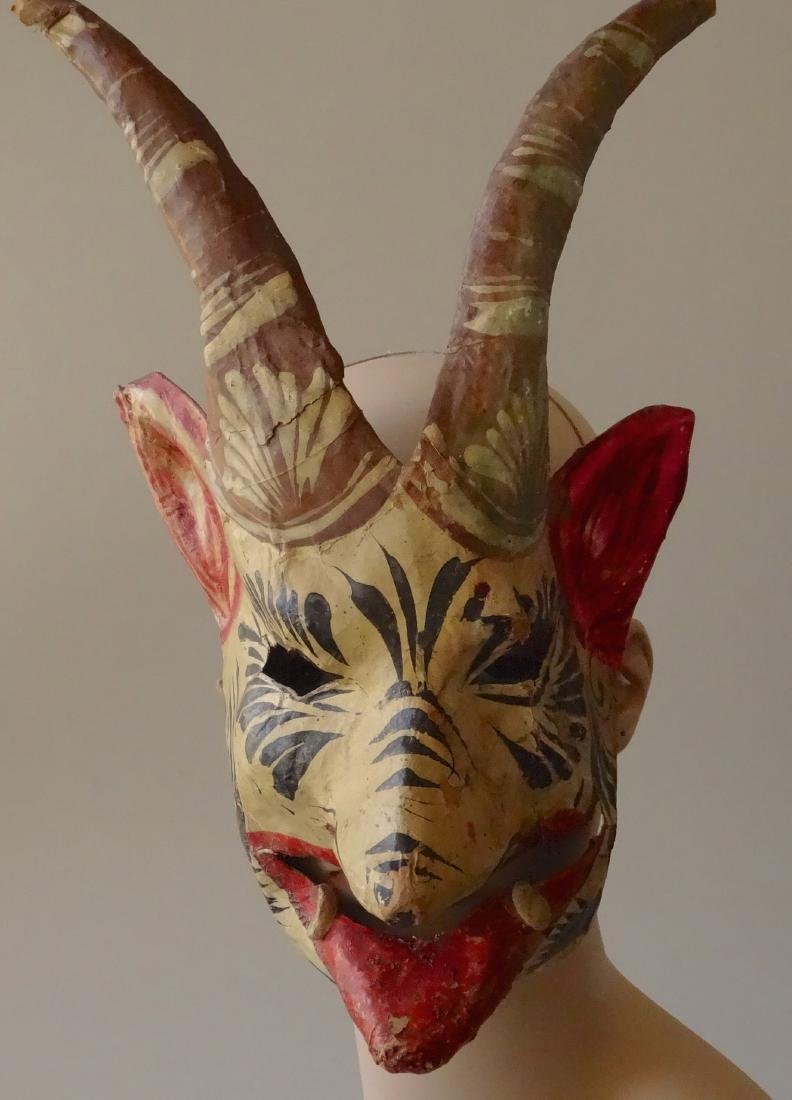 Vintage Mexican Devil Halloween Mask Hand Painted - 2