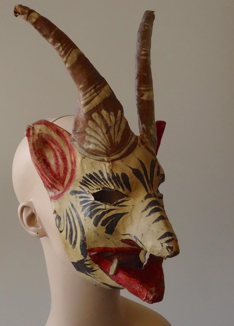 Vintage Mexican Devil Halloween Mask Hand Painted - 3