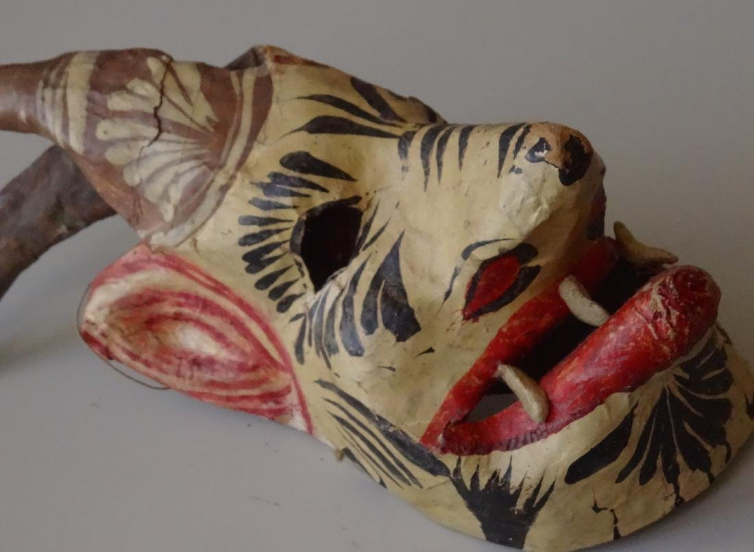 Vintage Mexican Devil Halloween Mask Hand Painted - 5