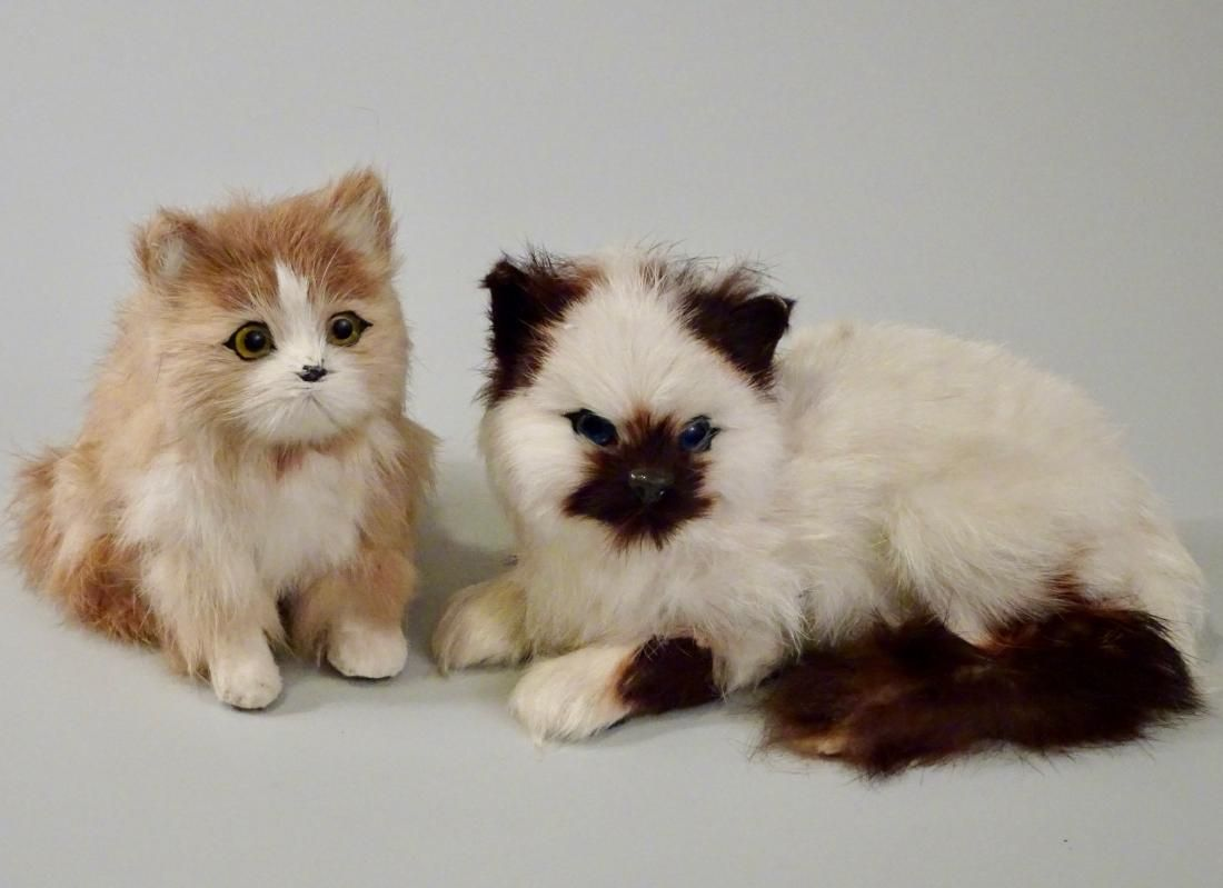 Glass Eyes Fur Cat Kitten Figurines Lot of 2