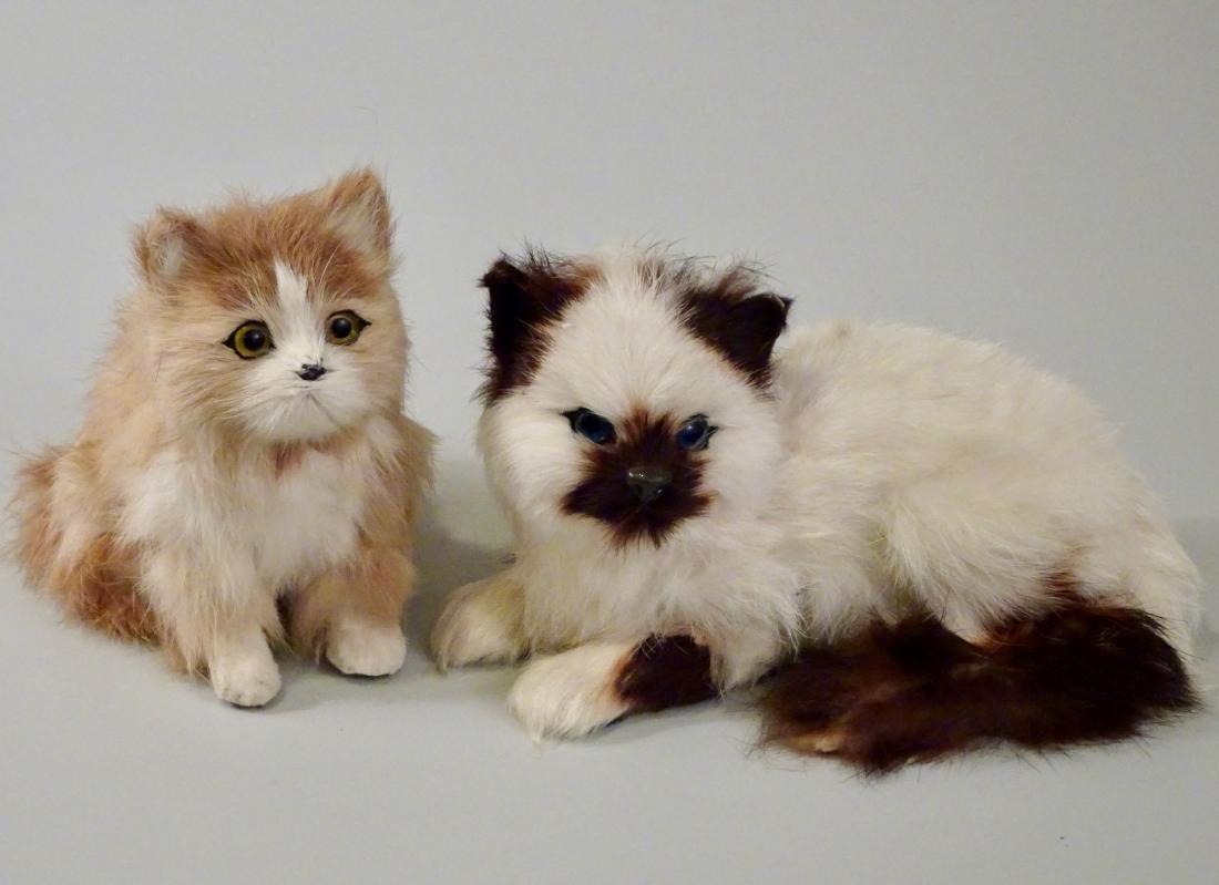 Glass Eyes Fur Cat Kitten Figurines Lot of 2