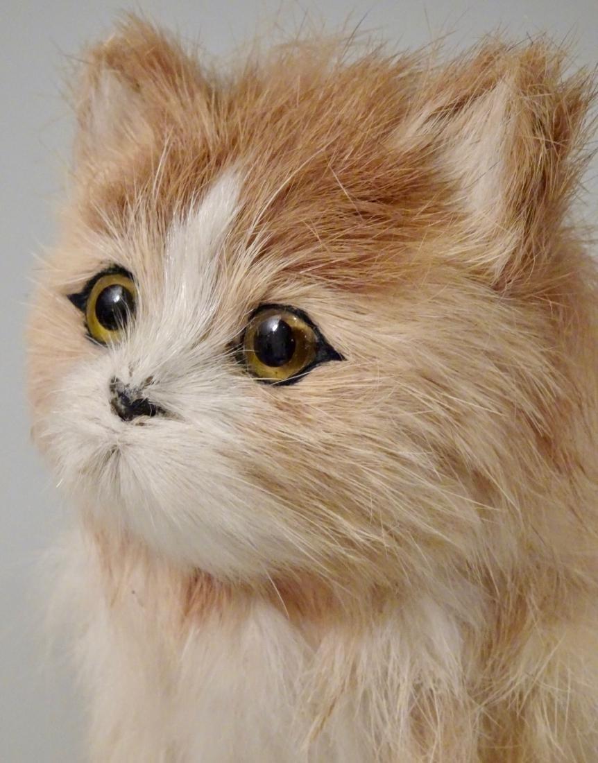 Glass Eyes Fur Cat Kitten Figurines Lot of 2 - 3