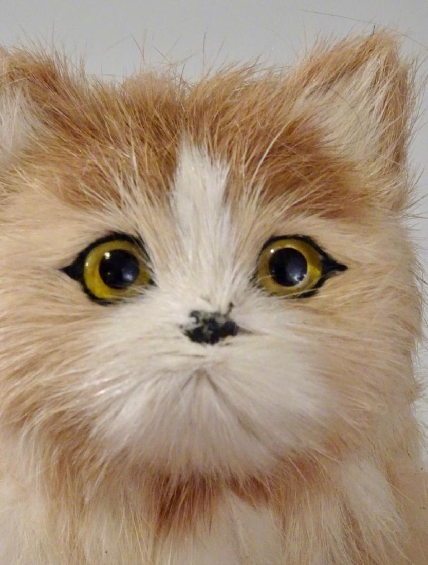 Glass Eyes Fur Cat Kitten Figurines Lot of 2 - 4