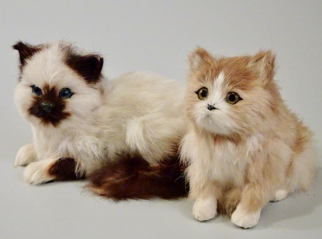 Glass Eyes Fur Cat Kitten Figurines Lot of 2 - 6