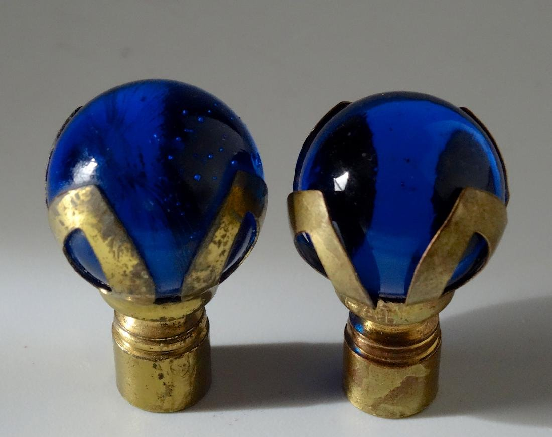 Vintage Witch Ball Cobalt Glass Lamp Shade Finials Pair - 2