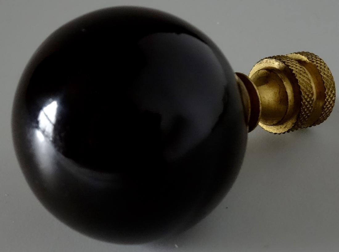 Black Porcelain Ball Lamp Shade Finial Revolving Brass - 3