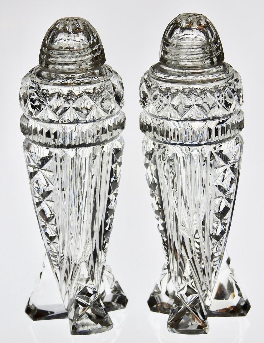 Vintage Art Deco Crystal Rocket Salt Paper Shakers