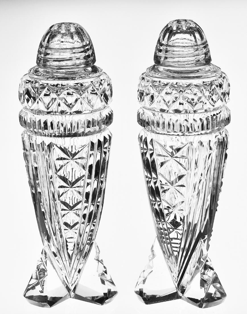 Vintage Art Deco Crystal Rocket Salt Paper Shakers - 3