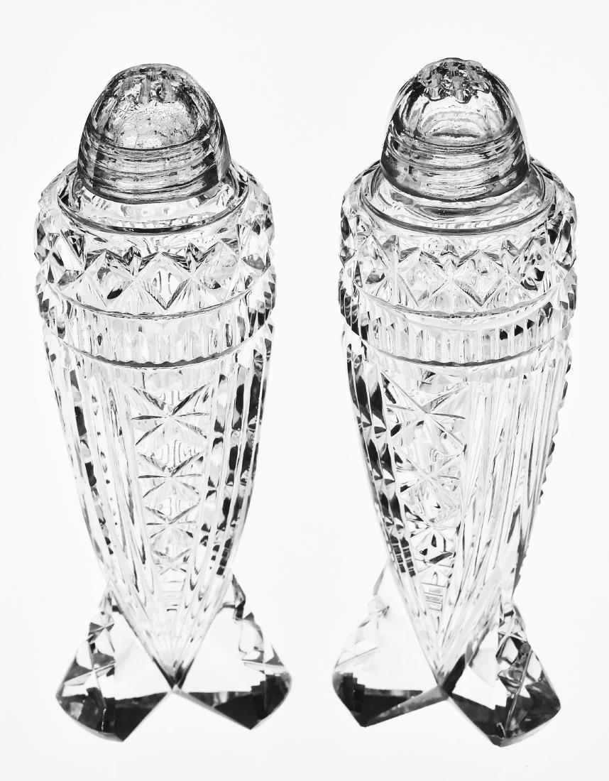 Vintage Art Deco Crystal Rocket Salt Paper Shakers - 4