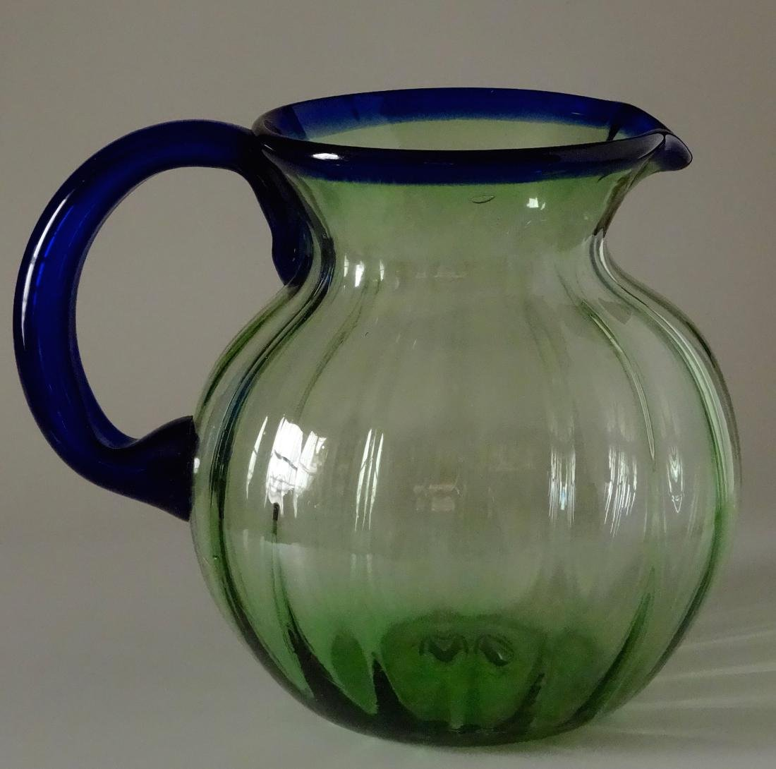 Vintage Art Deco Art Glass Water Juice Pitcher Blown