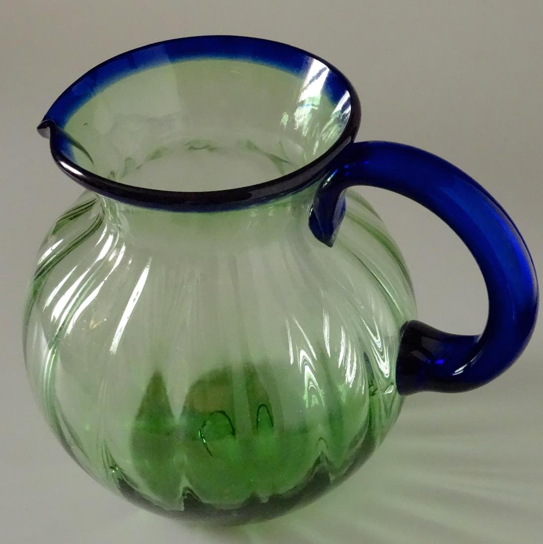 Vintage Art Deco Art Glass Water Juice Pitcher Blown - 2