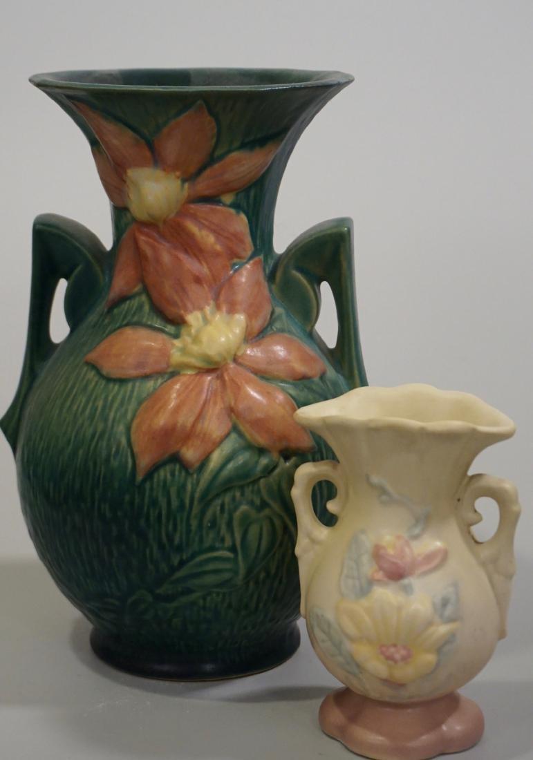 Vintage USA Pottery Vase Roseville Hull Lot of 2
