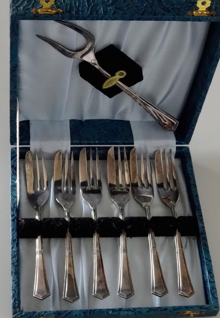 English Ancora Silver Plated Dessert Fork Flatware Boxe - 2