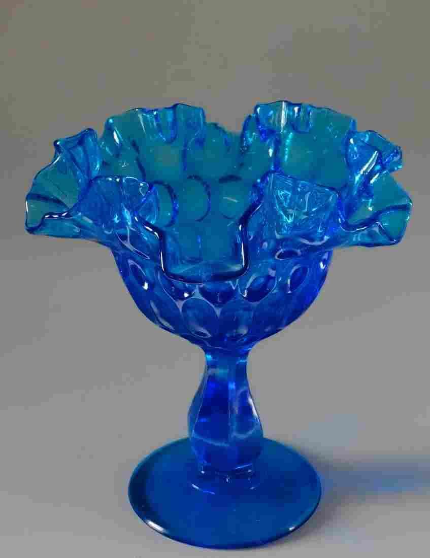 Blue Glass Vintage Compote Crimped Border