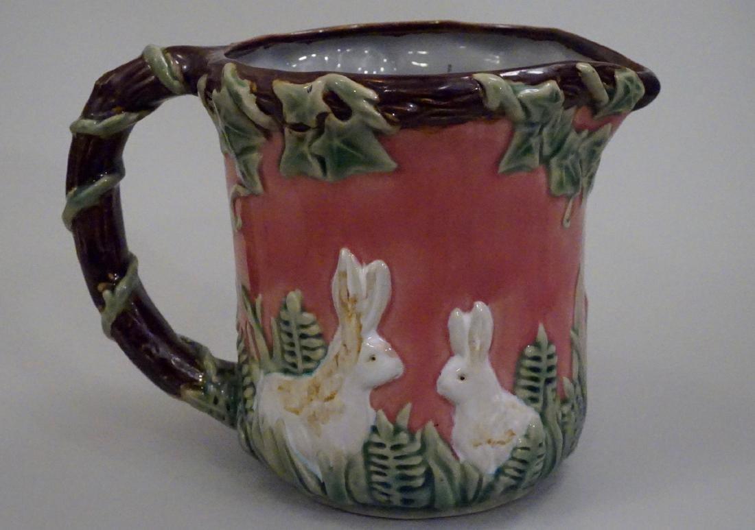 Majolica Rabbit Pitcher Pink Pottery Pitcher Bunny Ivy