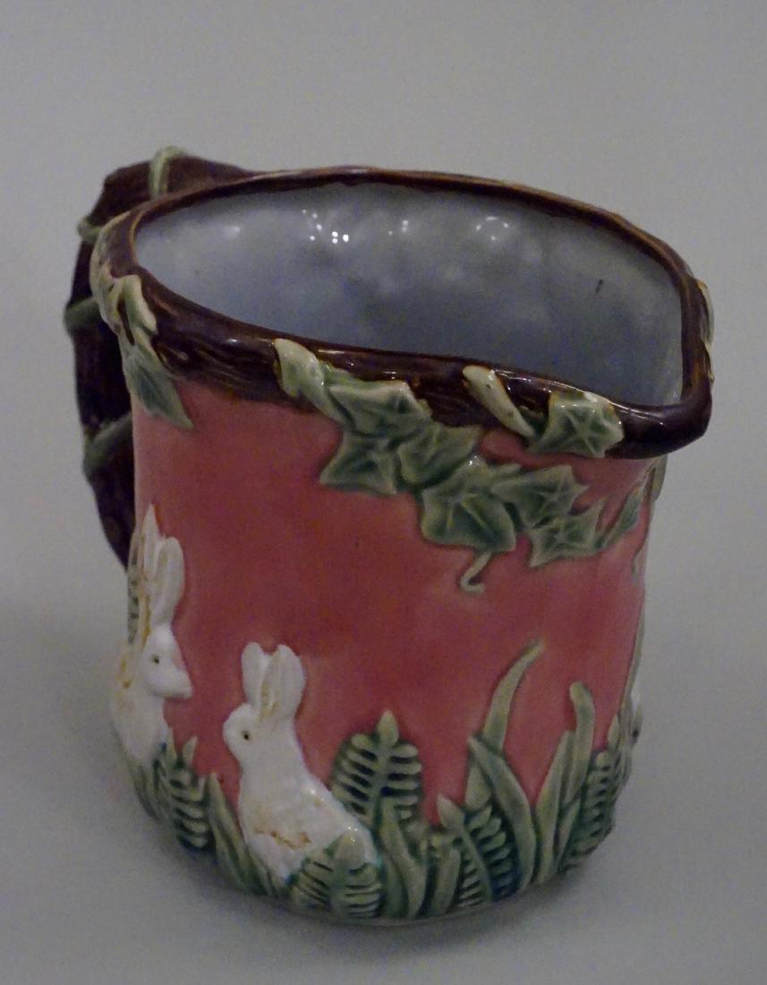 Majolica Rabbit Pitcher Pink Pottery Pitcher Bunny Ivy - 2