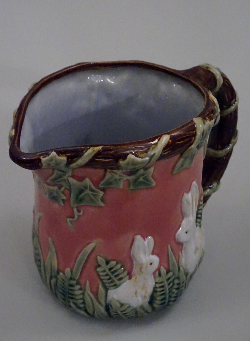 Majolica Rabbit Pitcher Pink Pottery Pitcher Bunny Ivy - 3