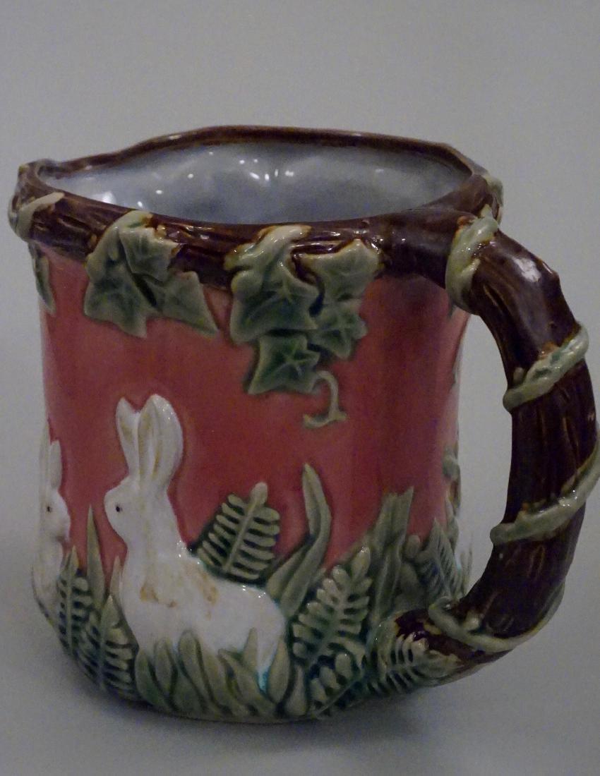 Majolica Rabbit Pitcher Pink Pottery Pitcher Bunny Ivy - 4
