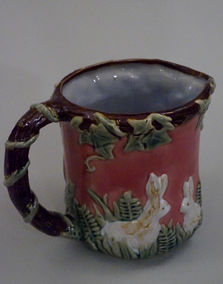 Majolica Rabbit Pitcher Pink Pottery Pitcher Bunny Ivy - 5
