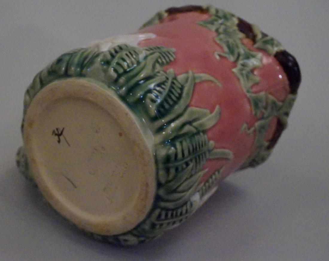 Majolica Rabbit Pitcher Pink Pottery Pitcher Bunny Ivy - 7