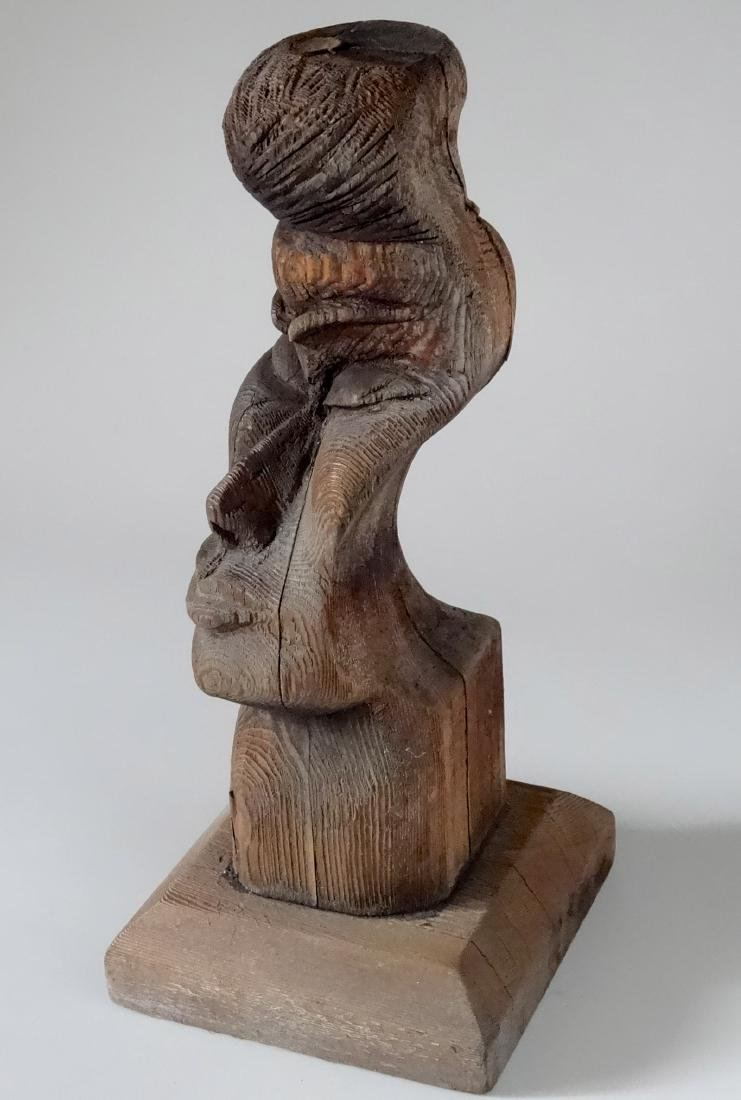 Vintage Two Faced Drift Wood Primitive Carving Lamp