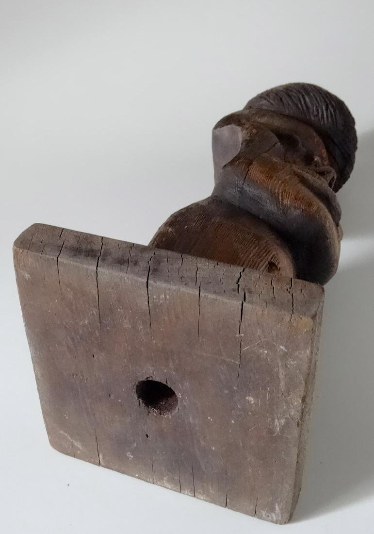 Vintage Two Faced Drift Wood Primitive Carving Lamp - 6